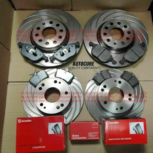For Vw Golf Mk5 Fsi Tsi Gti Tdi Sdi Front Rear Grooved Brake Discs + Brembo Pad