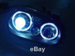 GLASS LENS ECode 99-05 VW GOLF R32 GTI WHITE LED ANGEL HALO HEADLIGHT +XENON HID
