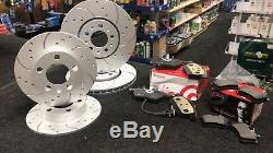 Seat Leon 2.0 Tdi Tsi Tfsi Fr Front Rear Drilled Grooved Brake Discs Brembo Pads