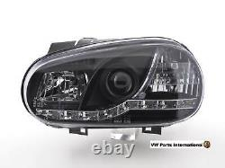 VW Golf MK4 GTI R32 TDI Headlights + LED DRL Daylight In Black Pair (RHD)