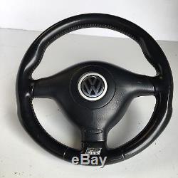 VW MK4 Golf R32 Black Leather Steering Wheel With R Logo GTi V6 TDi VGC