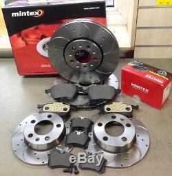 Vw Golf Mk4 1.9 Tdi Fsi 2.0 2.3 V5 Mintex Drilled Grooved Brake Discs Pads Fr Rr